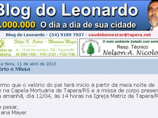 Morre o jornalista Leonardo Mayer de Tapera