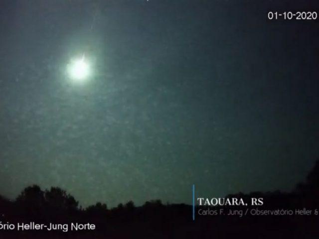 Meteoro de grande magnitude é registrado nesta madrugada no RS