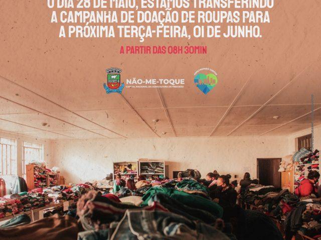 Campanha de doação de roupas será transferida para a próxima terça-feira, 01 de junho